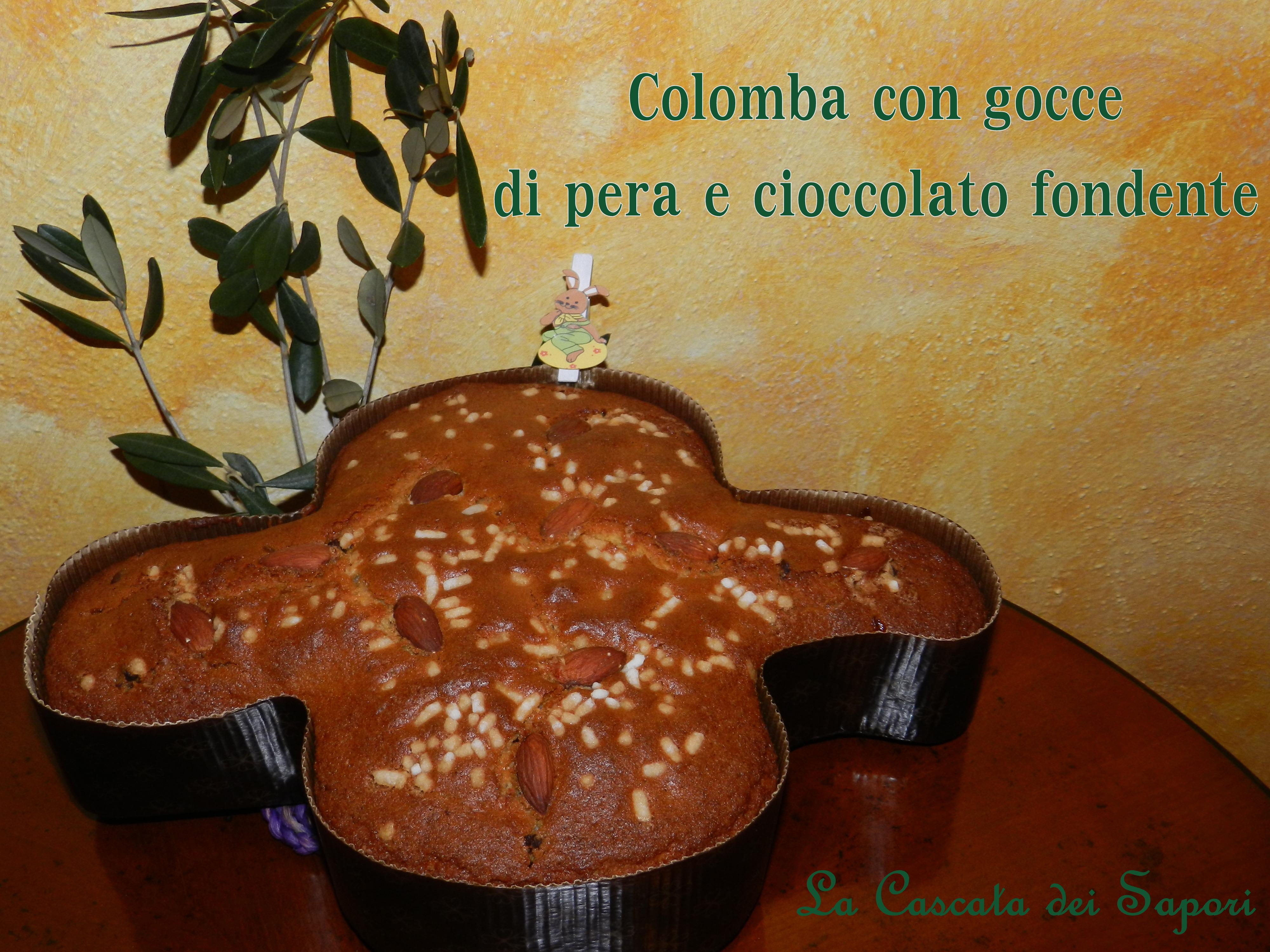 colomba con gocce di pera e cioccolato fondente