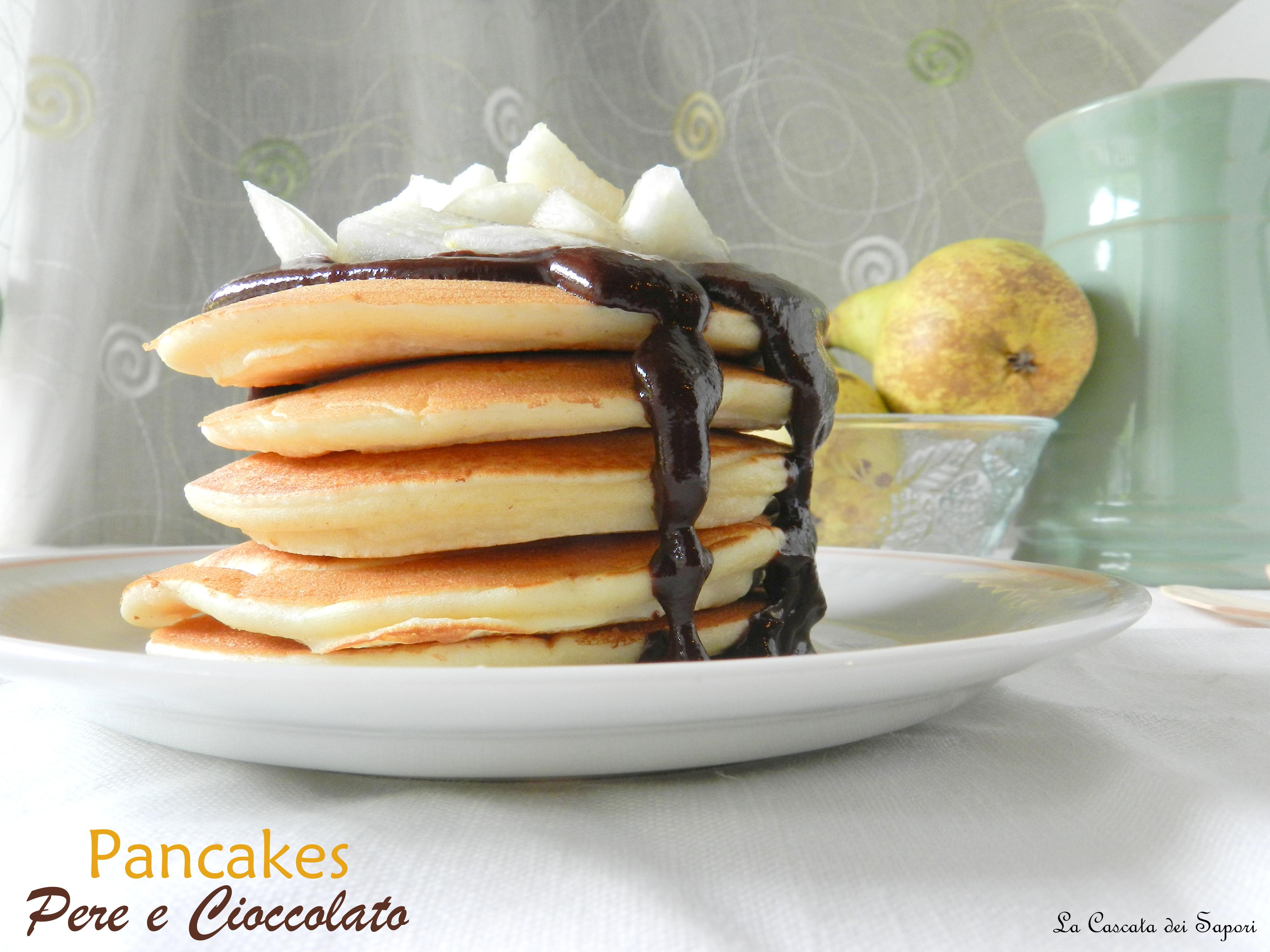Pancakes pere e cioccolato