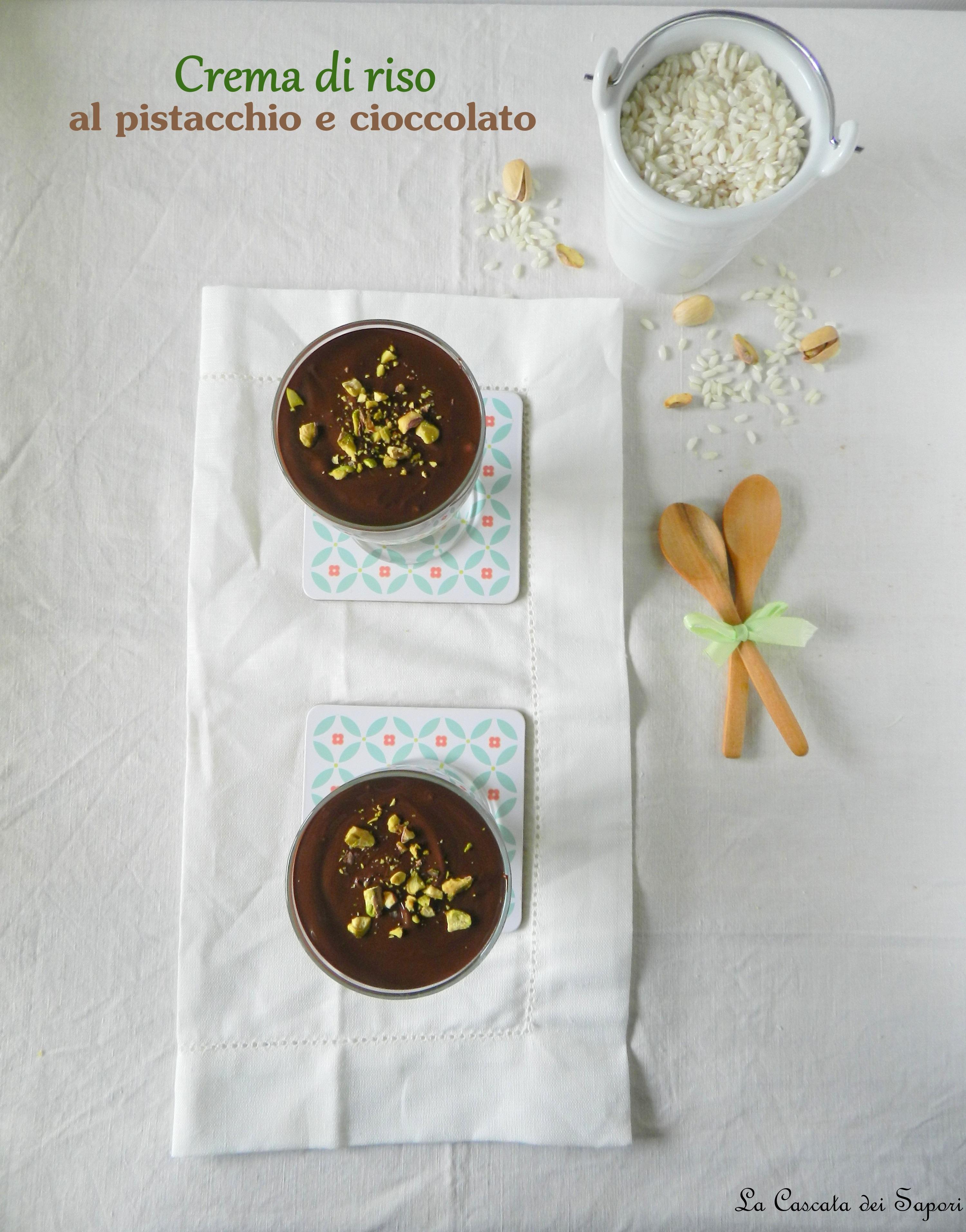 crema di riso al pistacchio e cioccolato