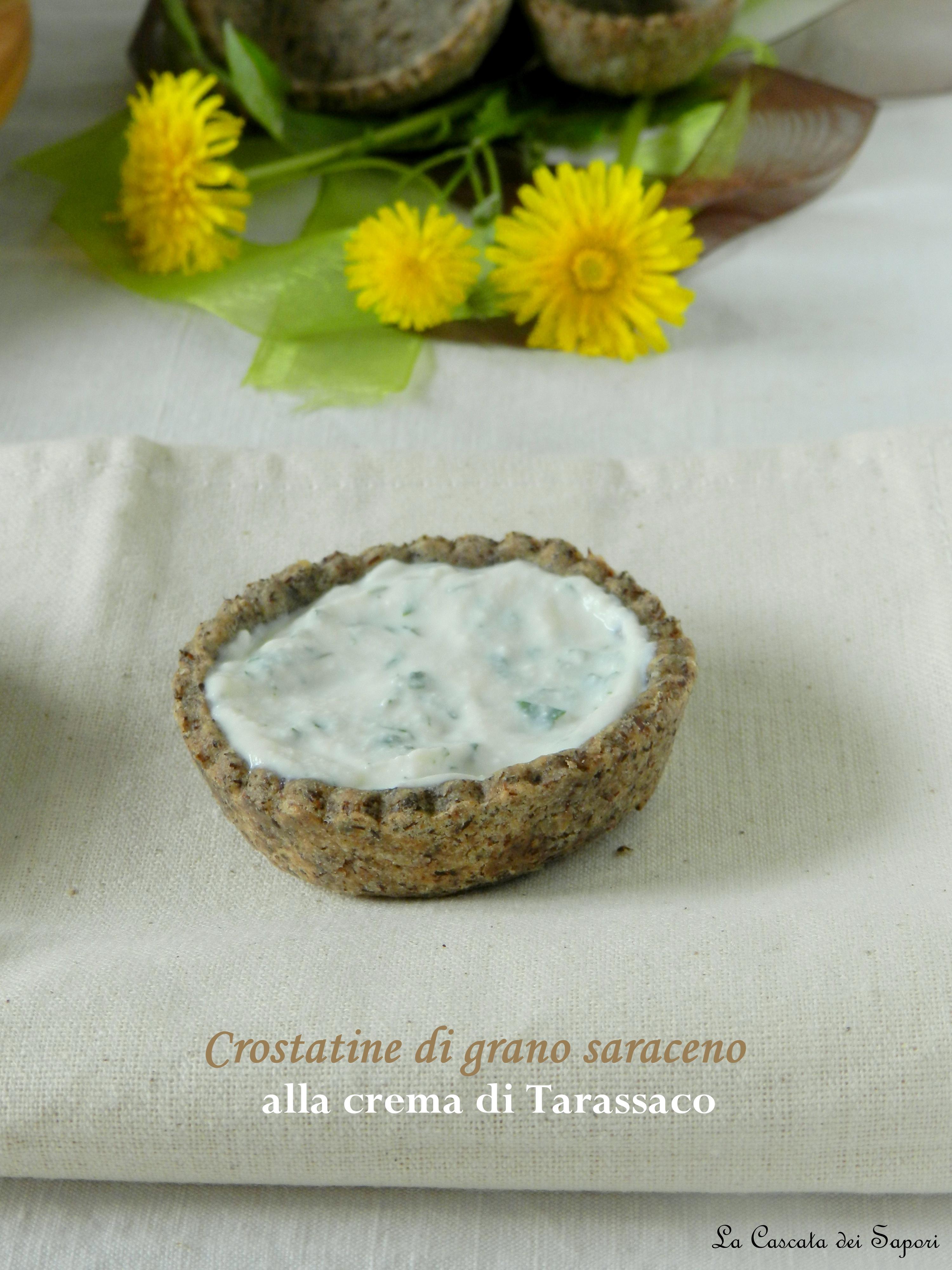 Crostatine con farina di grano saraceno alla crema di Tarassaco con ricotta e miele di castagno