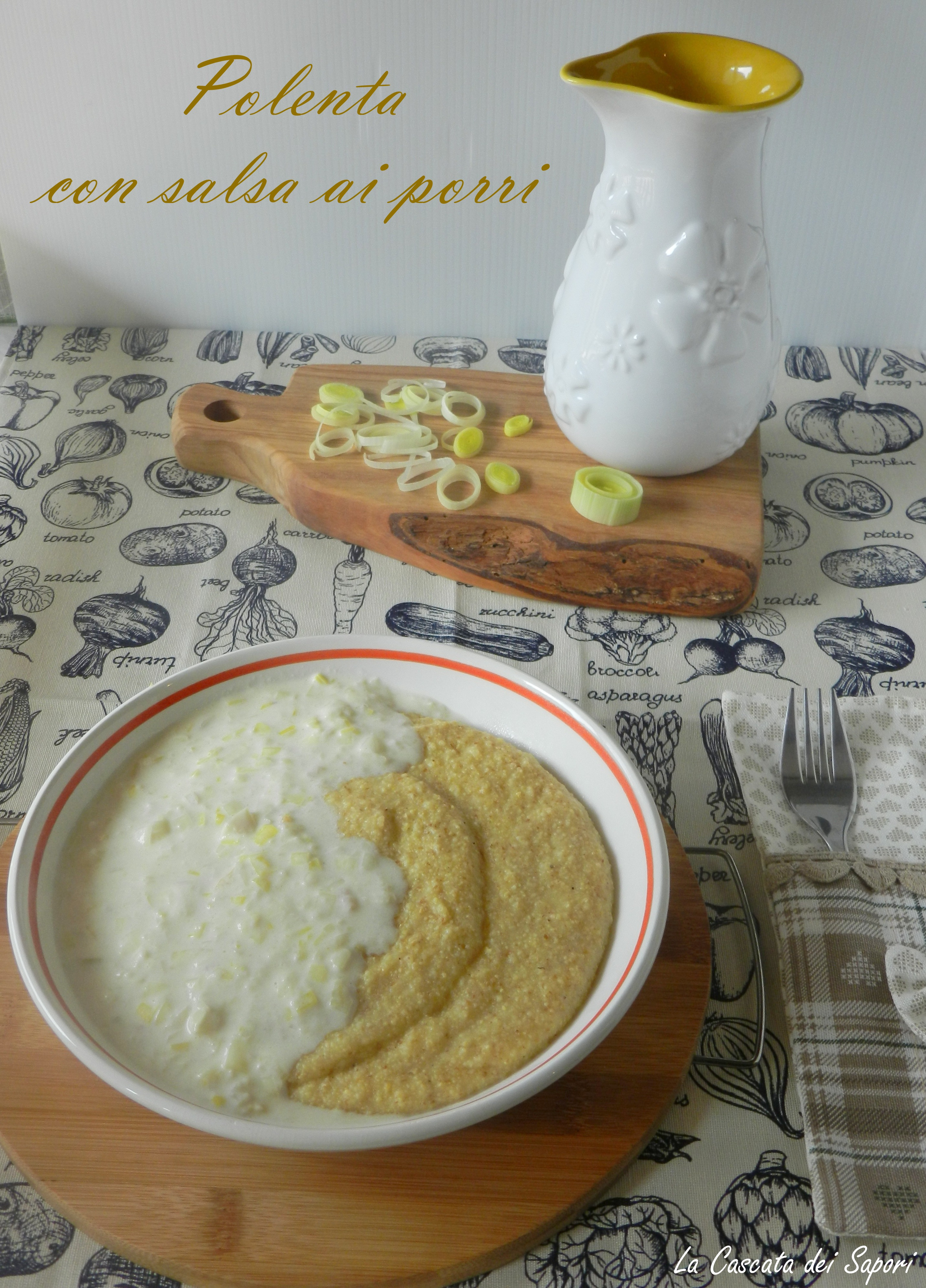 Polenta con salsa ai porri