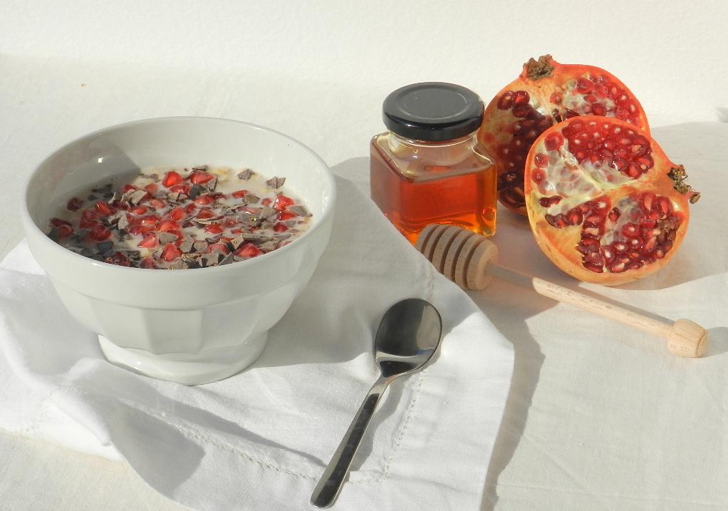 Zuppa dolce di avena e melagrana