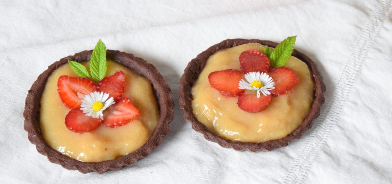 Crostatine al Cacao con Fragole & Crema all'acqua limone e menta Calendario del Cibo Italiano MTC