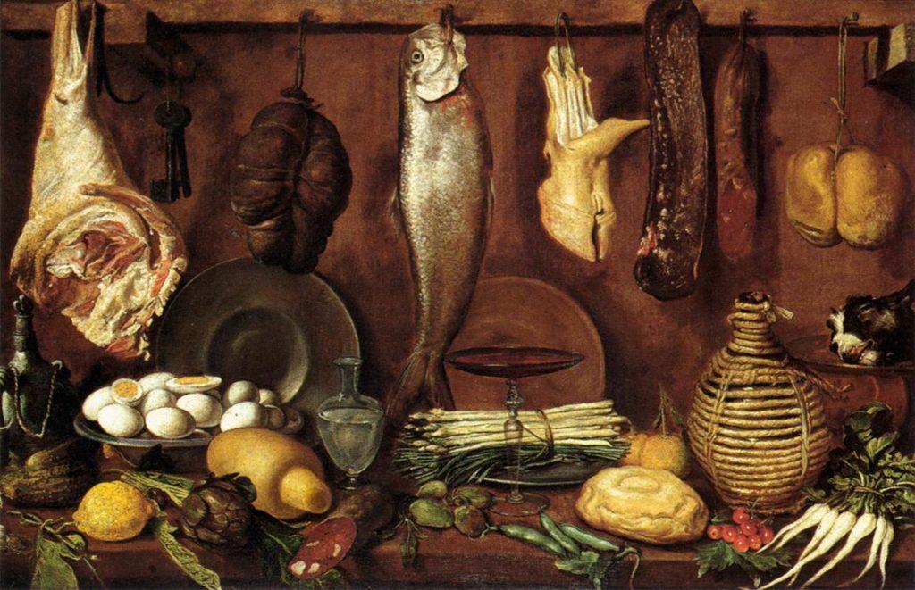 Jacopo Chimenti detto l'Empoli - Dispensa con Trota Giornata Nazionale del Cibo nell'Arte nel Calendario del Cibo Italiano MTC