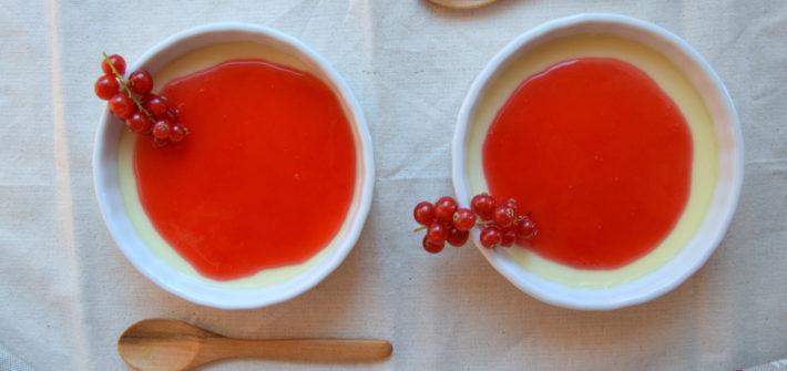 Panna Cotta al Cioccolato bianco con coulis di Ribes rossi