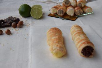 Cannoli dolci di pasta sfoglia con Crema al lime-cocco e Ganache al cioccolato fondente e nocciole