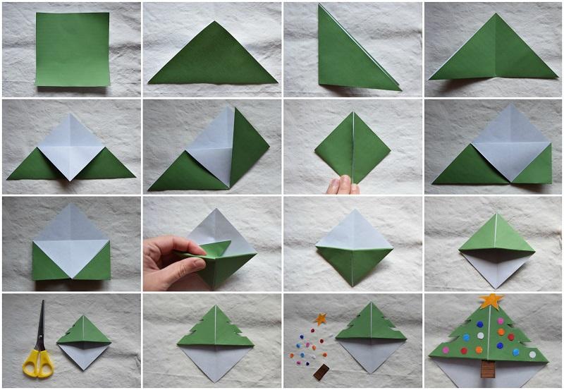 3 Origami Facili di Natale - Segnalibro Albero di Natale