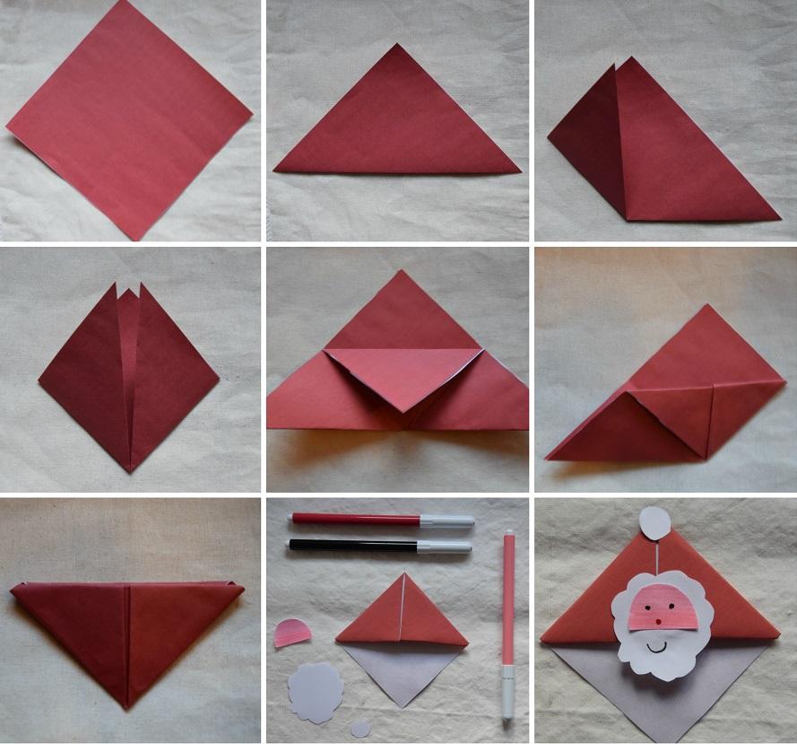 3 Origami Facili di Natale - Segnalibro Babbo Natale