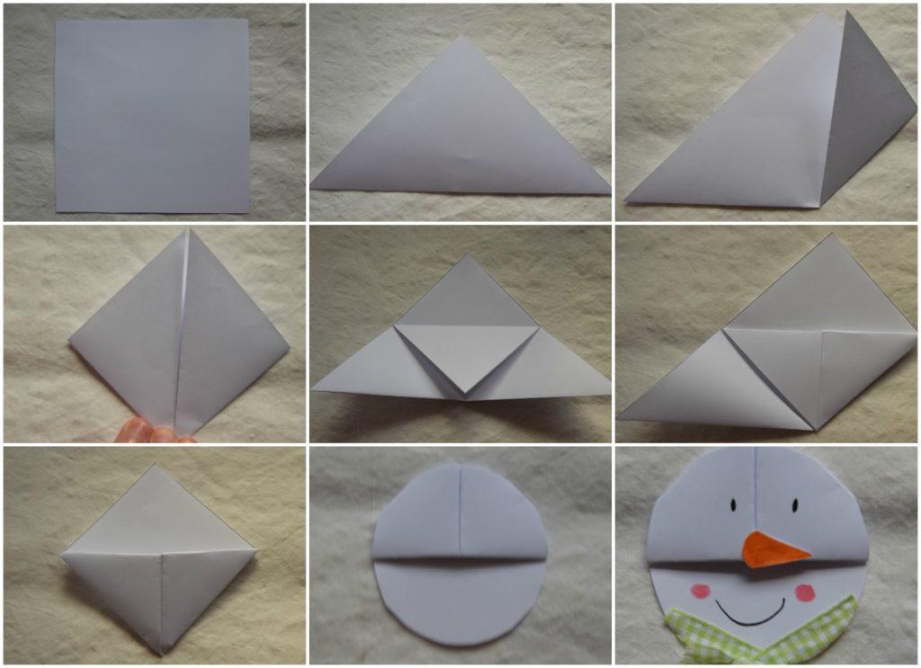 3 Origami Facili di Natale - Segnalibro Pupazzo di Neve