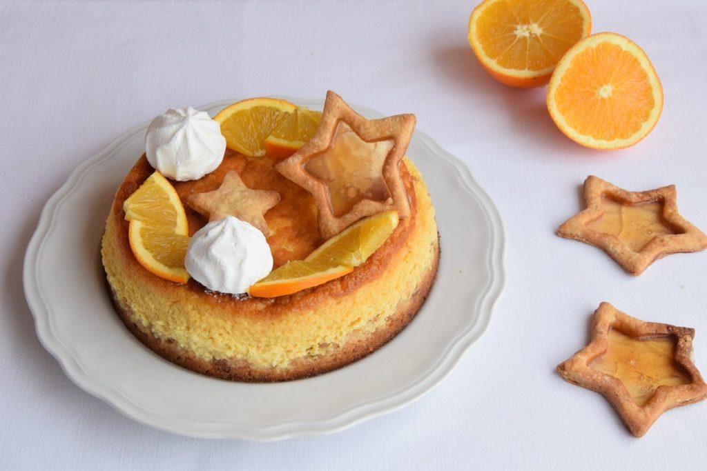 Cheesecake cotta all'arancia. Ricetta per riciclare il Panettone avanzato