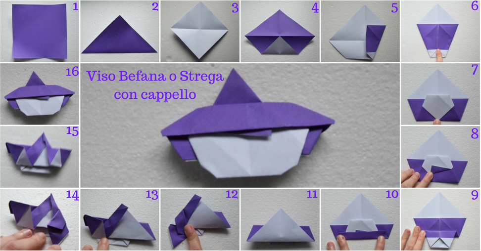 Come realizzare la befana o strega con la carta. Origami Facili per l'Epifania e Halloween