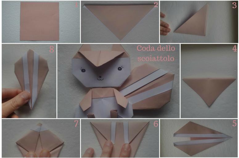 Come realizzare lo scoiattolo con la carta. Origami di Animali Facili