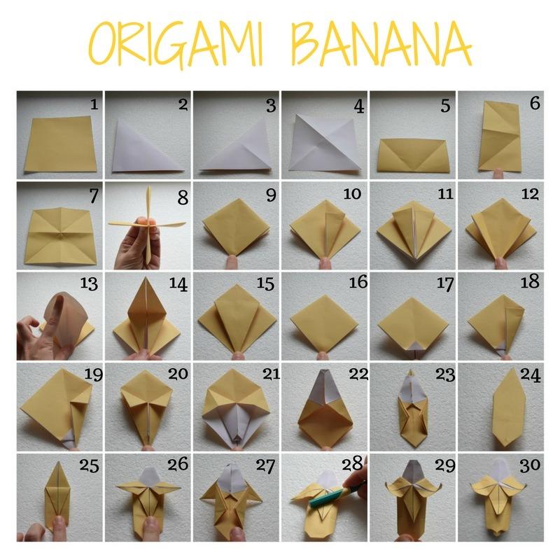 Come realizzare una banana con la carta. Origami di Frutta Facili