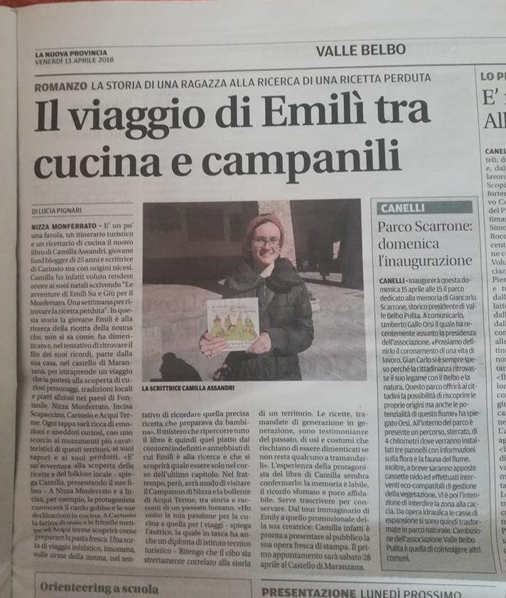 Le Avventure di Emilì Su e Giù per il Monferrato. Una settimana per trovare la ricetta perduta LA NUOVA PROVINCIA ASTI