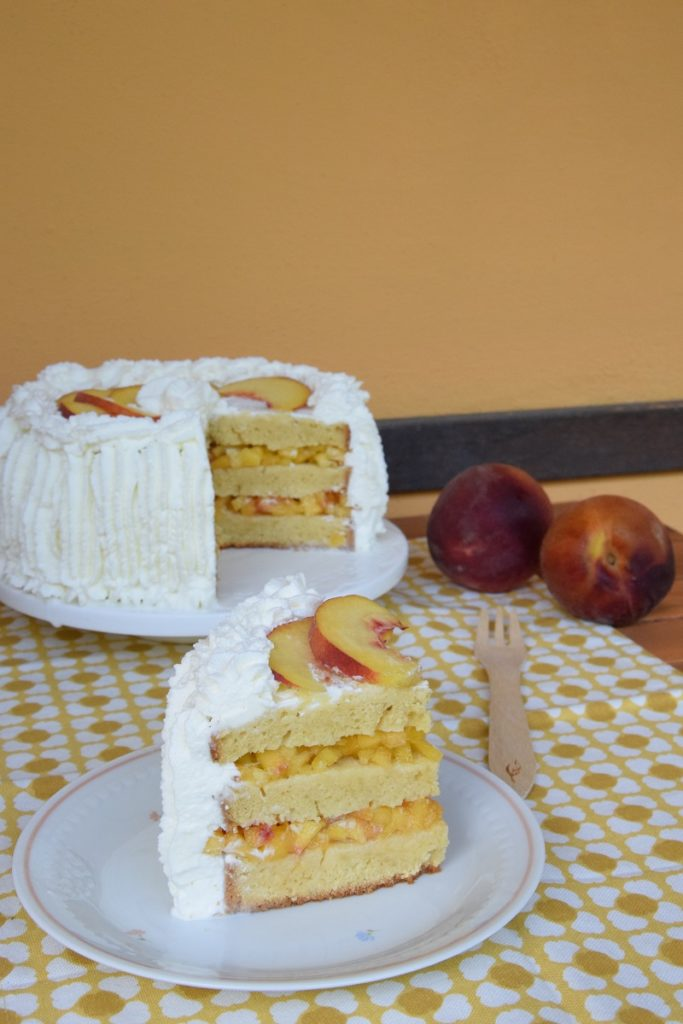 Peaches & Cream Prosecco Cake