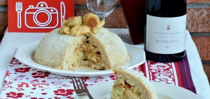 Timballo di Pasta di riso integrale con Funghi Porcini trifolati e polpettine di pollo