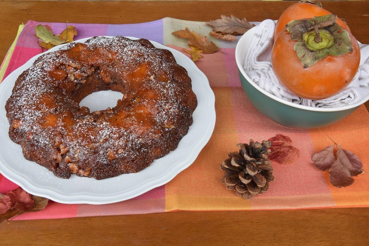 Ciambella Rovesciata ai Cachi e Noci – Upside Down Cake