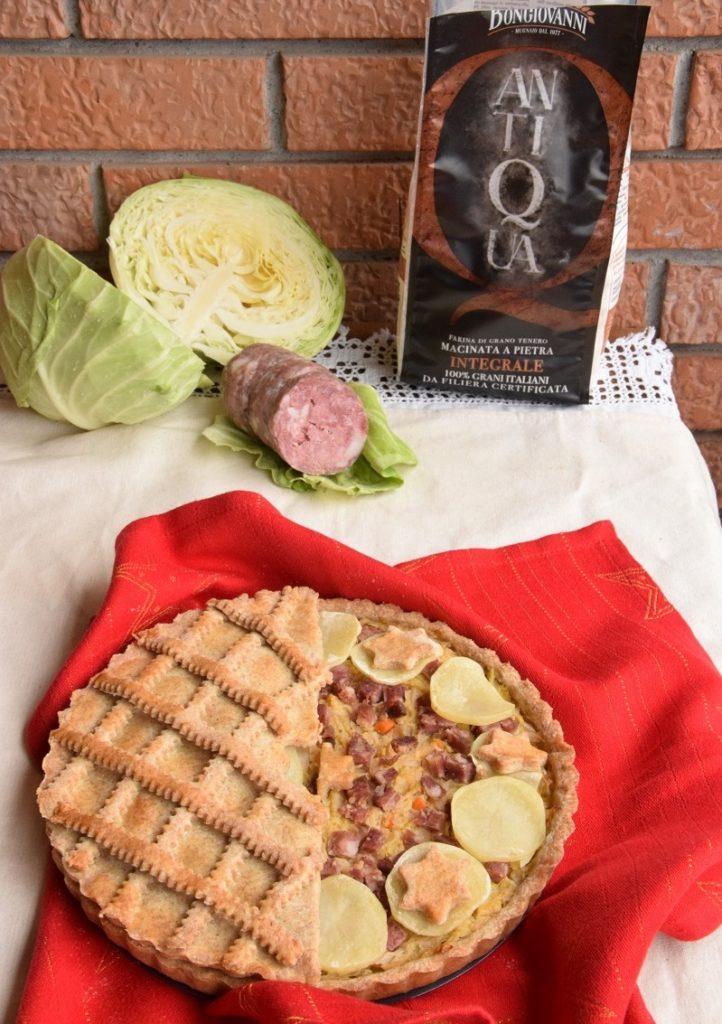Crostata Salata Integrale con Salame da Pentola e Crauti