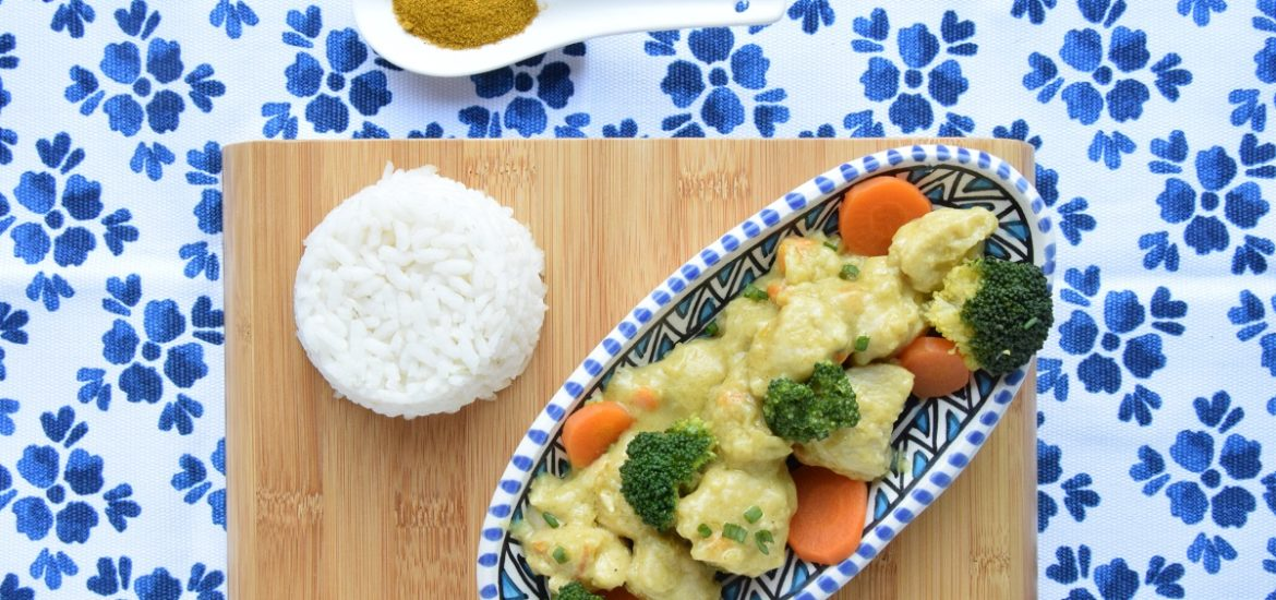 Pollo al Curry con broccoli e latte di cocco per PASSIAMOLE IN RIVISTA