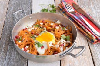 Spaghetti di Patata dolce con Feta e Spezie