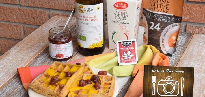Waffel di farina di Lenticchie rosse con Zabaione allo Zafferano e Mostarda di Fragoline