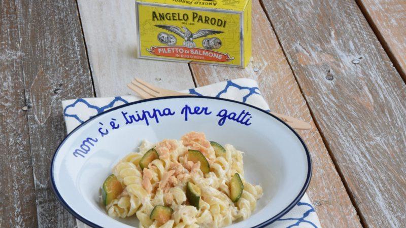 """Fusilli con Filetto di Salmone """"Angelo Parodi"""", Zucchine e formaggio cremoso"""